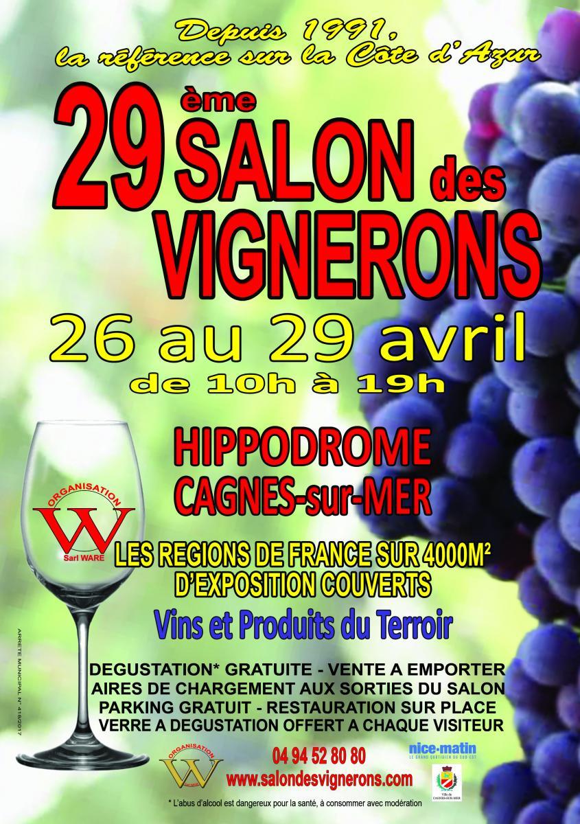 Salon des Vignerons à Cagnes-sur-Mer (Côte d'Azur) – du 26 au 29 avril 2019 – Hall 1 – Stand 27